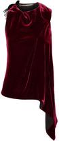 Roland Mouret Colridge Asymmetric Lace-trimmed Velvet Top - Burgundy