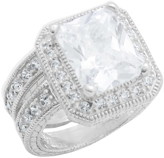 Savvy Cie Sterling Silver Princess-Cut CZ Double Row Eternity Bridal Ring Set - Size 7