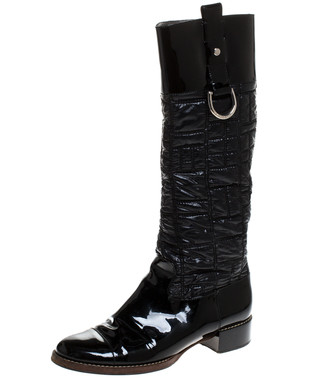 Dolce & Gabbana Black Patent Leather and Quilted Nylon Knee Boots Size 40
