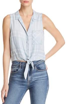 Bella Dahl Tie-Front Sleeveless Plaid Top