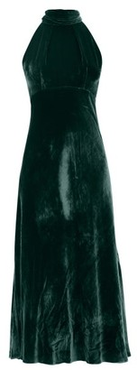 Saloni Michelle Halterneck Velvet Midi Dress - Dark Green
