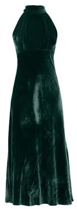 Saloni Michelle Halterneck Velvet Midi Dress - Womens - Dark Green