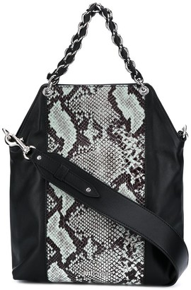 Just Cavalli Snakeprint Panelled Tote Bag