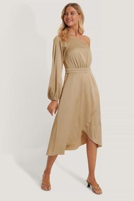 NA-KD Tie Waist Satin Dress