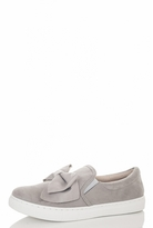 Quiz Grey Faux Suede Bow Skater Trainers
