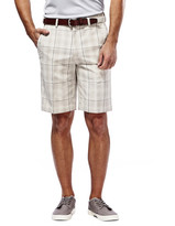 Haggar Cool 18 Check Short - Classic Fit, Flat Front, Expandable Waistband