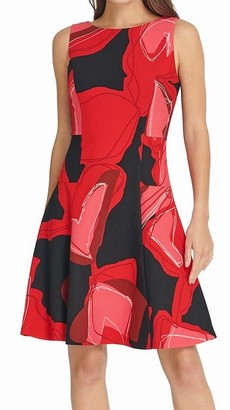 DKNY Womens Red Zippered Printed Sleeveless Jewel Neck Above The Knee Fit + Flare Cocktail Dress Size: 14