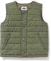 Old Navy Collarless Quilted Canvas Vest for Toddler