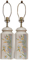One Kings Lane Vintage Murray Feiss Ceramic Table Lamps - a Pair - white/blue/yellow/green