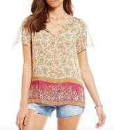 Lucky Brand Women's Floral Border Blouse