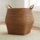 Crate & Barrel Sedona Honey Round Rattan Storage Basket