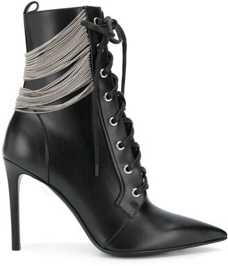 Balmain Silver-Tone Chain Boots