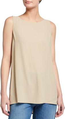 Eileen Fisher Bateau-Neck Long Silk Georgette Crepe Shell