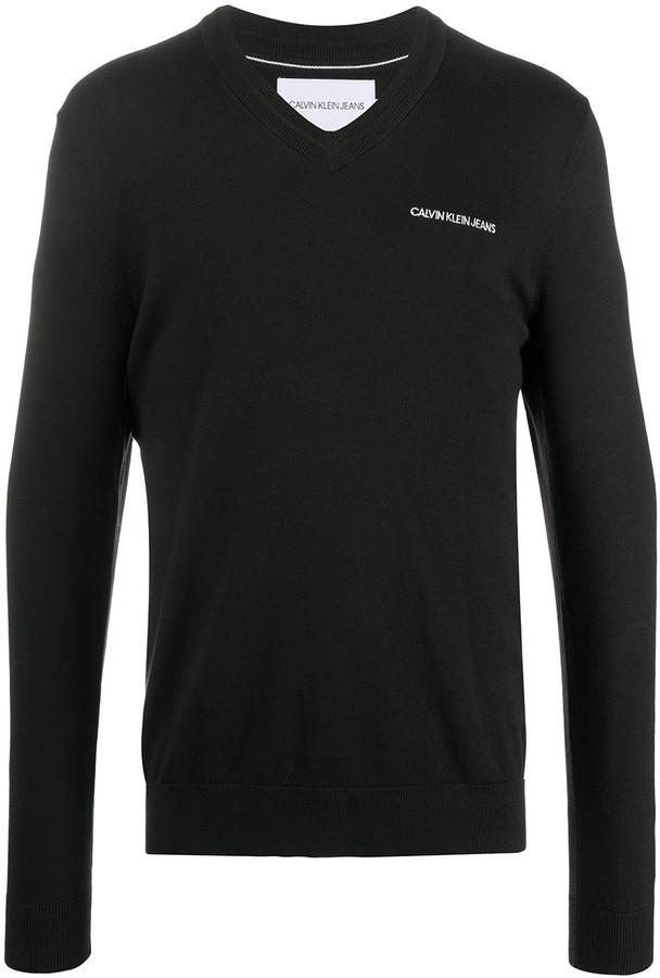 Calvin Klein Jeans logo print V-neck sweater