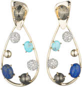 Alexis Bittar Multi Stone Crystal Accented Modernist Dangling Post Earring