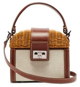 Rodo Wicker & Leather Box Bag - Womens - Brown Multi