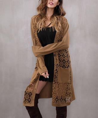 Z Avenue Women's Cardigans Camel - Camel Crochet-Front Duster - Women & Plus