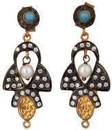 Carousel Jewels - Delicate Pearl Turquoise & Crystal Earrings