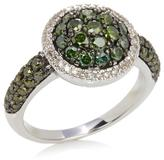 1.11ct Green and White Diamond Sterling Silver Cluster Ring