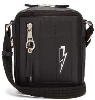 Neil Barrett Thunderbolt Canvas And Leather Cross Body Bag - Mens - Black Multi