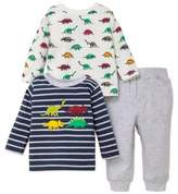 Little Me Baby Boy's Three-Piece Dinosaur Cotton Top and Sweatpants