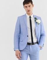 Twisted Tailor super skinny suit jacket in blue linen