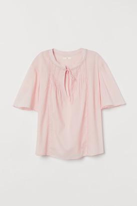 H&M Pin-tuck Cotton Blouse - Pink