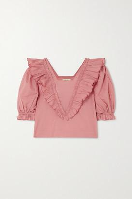 Innika Choo Anita Eayte Ruffled Cotton-voile Top - Pink