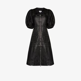 Ganni Zip-Up Pouf Sleeve Dress