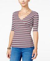 Ultra Flirt Juniors' Striped Surplice T-Shirt