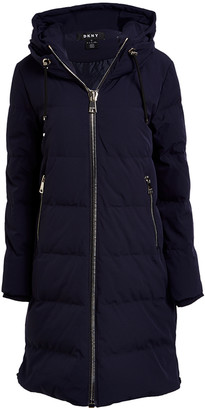 DKNY Women's Anoraks & Parkas NS4:NIGHT - Night Sky Quilted Hooded Parka - Women & Petite