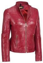 Black Rivet Womens Center Zip Leather Jacket