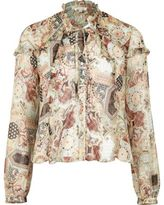 River Island Womens Cream print blouse with frill
