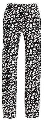 Brandon Maxwell Women's Animal-Print Silk Pajama Pants