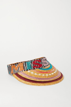 Missoni Striped Straw And Crochet-knit Visor - Red