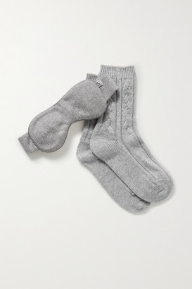 Johnstons of Elgin Cashmere Socks And Eye Mask Set - Gray