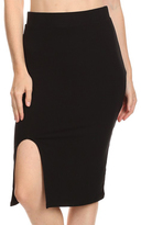 Black Side-Slit Pencil Skirt