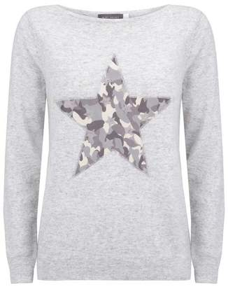 Mint Velvet Grey Camo Star Front Jumper