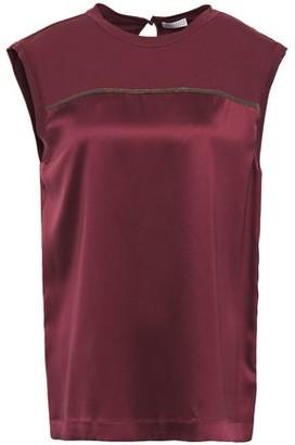 Brunello Cucinelli Jersey-paneled Bead-embellished Silk-satin Blouse