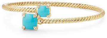 David Yurman Châtelaine 14k Turquoise Bypass Bracelet, Size L