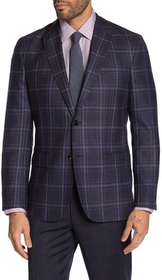 Ted Baker Konan Blue Plaid Two Button Notch Lapel Wool Suit Separate Blazer