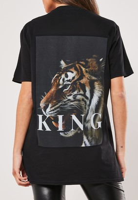 Missguided Black Tiger King Graphic T Shirt