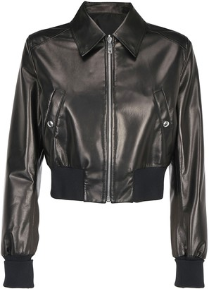 Prada Cropped Leather Bomber Jacket