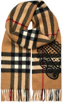 Burberry Giant check and embroidered lace cashmere scarf