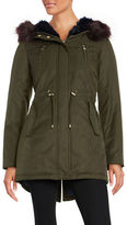 Betsey Johnson Faux Fur Trimmed Hooded Cotton Parka