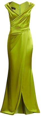Talbot Runhof Wrap Crepe Satin Gown