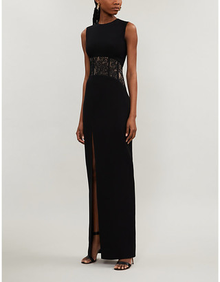 Rasario Strapless lace-insert crepe gown