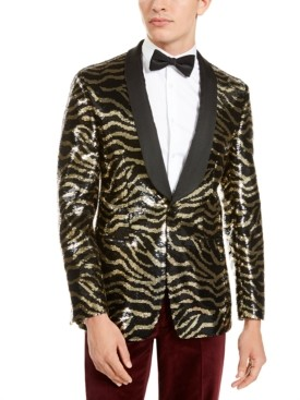 Tallia Men's Slim-Fit Black Zebra Sequin Dinner Jacket