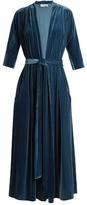 Luisa Beccaria Deep V-neck tie-waist velvet midi dress