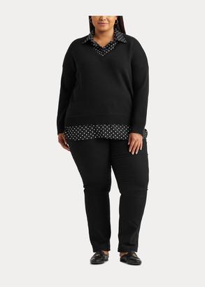Ralph Lauren Layered Polka-Dot V-Neck Sweater
